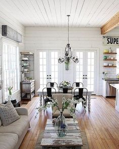 New Ideas For Farmhouse Living Room Decor Open Floor Fixer Upper Cottage Living Room Small, Fixer Upper Living Room, Small Living Rooms, Home Living Room, Coastal Cottage, Modern Living, Small Dining, Living Area, Small Bedrooms