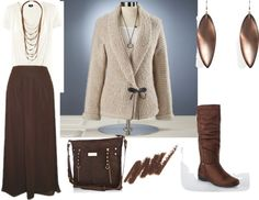 """""""Brown Skirt and Sweater Outfit - Plus Size"""" by intcon on ...  Love it"""