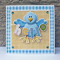 Cute blue bird card to say hello to a friend! FQB - In the Woods Collection from Nitwit Collections™