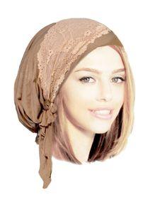 Khaki Head Scarf Pre tied Bandana Hair Snoods by ShariRoseShop
