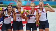 US women's rowing team celebrate winning bronze in the Women's 4x Sculls
