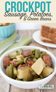 Another great all in one crockpot dinner recipe! You have to try this simple Crockpot Sausage, Potatoes and Green Beans supper. So tasty, and super easy!