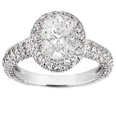Vintage Oval Diamond Cathedral Pave Engagement Ring