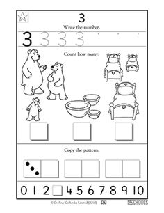 In this coloring math worksheet, your child will practice writing the number 3 and counting up to 3 items.
