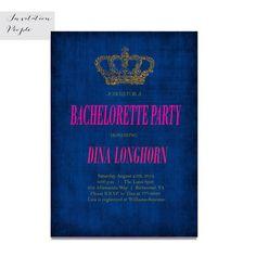 PRINCESS TIME GOLD Crown Monaco Blue Bridal Shower Invitation Shabby Chic Pink Blush Digital or  Free Shipping 70-1 Modern Invitations, Bridal Shower Invitations, Shabby Chic Pink, Blue Bridal, Gold Crown, Monaco, Blush Pink, Free Shipping, Princess