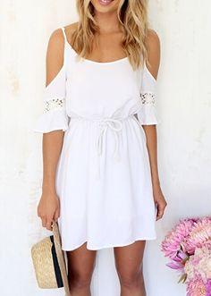 Summer Style Women White Lace Patchwork Off Shoulder Chiffon Dress Club Dresses, Casual Dresses, Dresses Dresses, Mini Dresses, Cheap Dresses, Party Dresses, White Dress Summer, Summer Dresses, Dresses 2016