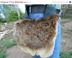 ON SALE Leather Belt Bag with Rabbit Fur by FaeMoonWolfDesigns, $76.50