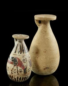 TWO ALABASTERS, CORINTHIAN'S WORKSHOP, FIRST HALF OF THE 6TH CENTURY B.C.