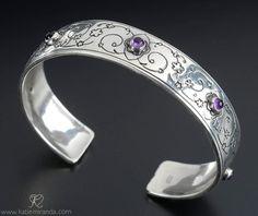 Swirly Floral Cuff Bracelet by KatieMirandaStudios on Etsy, $195.00