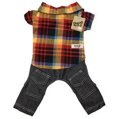 Camisa com Calça para Cachorro Jeans Xadrez Dudog Vest - MeuAmigoPet.com.br #petshop #cachorro #cão #meuamigopet