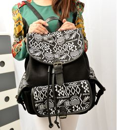 stacy bag hot popular women canvas backpack black female ethnic printing vintage small casual backpack student school bag $12.00