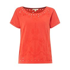 Smart/casual. Buy White Stuff Ora Joyce Embroidered Jersey T-Shirt, Indian Orange Online at johnlewis.com