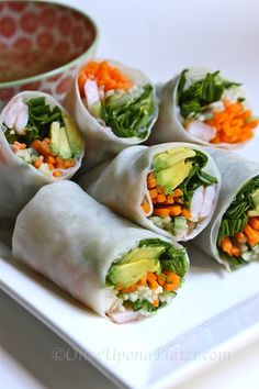 Once Upon a Plate: Veggie Rolls with Dipping Sauces ~