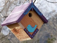 Birdhouse Handcrafted Rustic Cedar Hanging Purple and Turquoise by 3FeatheredFriends on Etsy