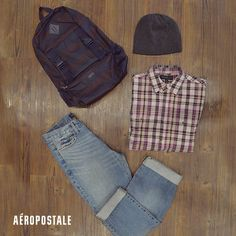 Look casual para hombre // Denim / Beanie / backpack / check shirt #AeropostaleMx #Aeropostale #look #outfit