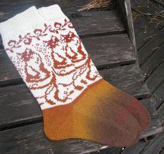 knit socks with cat wool socks knitted socks Scandinavian pattern Norwegian…