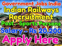 Indian Railways Recruitment Notification 2017 Post - Sports Person Salary - Rs 5,200 - 20,200 with Rs 2,800 grade pay Total vacancies - 21 Last Date - 23-02-2017 Apply from given link in bio