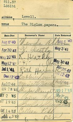 Library cards# - I remember these!
