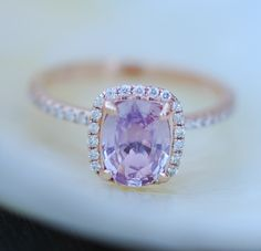 Pink Sapphire ring 14k rose gold diamond  Engagement Ring 1.45ct Cushion Peach Pink Champagne sapphire