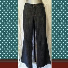 Low rise wide leg denim jean trouser 11 DARK DENIM LOW RISE WIDE LEG JEAN TROUSER  HAS RED & WHITE STITCHING  Size 11  EXCELLENT CONDITION BUT THREAD CAME OUT OF 1 BELT LOOP (SEE LAST PIC) CAN BE REPAIRED OR IRONED DOWN  MEASUREMENTS WAIST 26 IN. LENGTH 31.5IN. RISE 8.5 IN. CUFF 11 IN. WIDE  Material content  99% COTTON 1% SPANDEX Rampage Jeans
