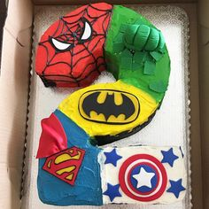 Superhero Cake for a lucky 2 year old!!! Disclaimer: First time working with fondant, first time making a shaped cake and in multi color. Definitely learned a lot in the process and can't wait to continue learning new cake decorating skills and perfecting them for my clients. ❤️ #psenjoy #customorder #superherocake #spiderman #batman #captainamerica #hulk #customcake #funfetticake #birthdaycake