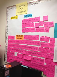 Neat idea! Movable ladder; by using post-it notes to show where pages are in the publishing process.