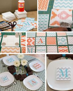 LOVE THIS!  Coasters make functional place cards, gifts and party favors
