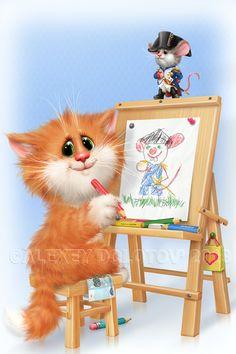 Kitten Cartoon, Cute Cartoon, Cat Cupcakes, Cute Animals, Funny Animals, Cute Animal Drawings, Funny Animal Pictures, Acrylic Art, Beautiful Artwork