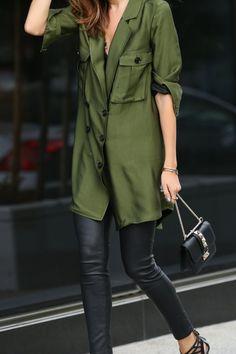Marissa Webb dress, leather pants, Valentino micro lock bag