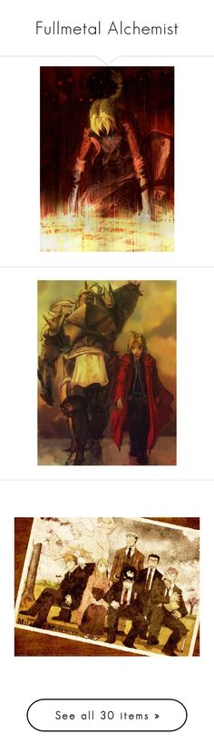 """""""Fullmetal Alchemist"""" by vevo900 ❤ liked on Polyvore featuring anime, fullmetal alchemist, fma, backgrounds, anime/cartoon, fillers, text, manga and witch"""
