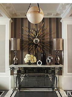 Entry - brown stripe wallpaper
