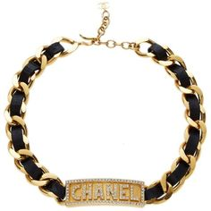 Gold Chain Crystal Name Plate Choker ($3,500) ❤ liked on Polyvore featuring jewelry, necklaces, gold crystal necklace, crystal choker, chain choker, gold jewelry and chain necklaces