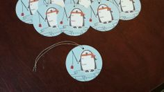 Sparkly penguin Christmas gift tags - all stamps from Stampin Up