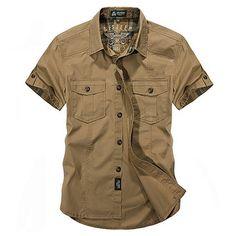 AFSJEEP Открытый Спортивный Хлопок Дышащий Multi-карманный Cargo Рубашки С Короткими Рукавами Для Мужчин