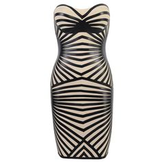 Bags and Heels Nude Leather Look Print Bandage Dress
