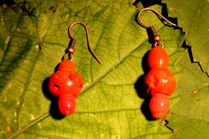 great red-orange dangle earrings from O.Squared Jewelry