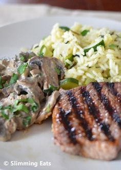 Fillet Steak with Creamy Garlic Mushrooms and Courgette Wild Rice Pilaf   Slimming Eats - Slimming World Recipes
