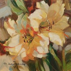 Lily floral painting original framed 6x6 Mom gift from   Etsy