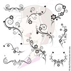 Black and White Flourish Decorations Flourish Flowers Foliage Clip Art Clipart Engagement Bridal Shower Wedding Scrapbook Supplies 10085 Make Your Own Invitations, Diy Invitations, Bridal Shower Scrapbook, Wedding Scrapbook, Flower Clipart, Art Clipart, Lettering Styles, Hand Lettering, Damask Decor