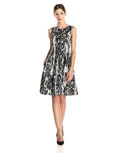 Calvin Klein Women's Printed Scuba Dress with Pleat, Black Combo, 10