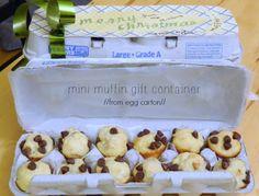 egg carton repurposed into mini-muffin container
