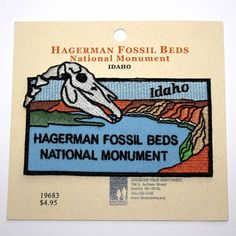 Official Hagerman Fossil Beds National Monument Souvenir Patch Idaho Park