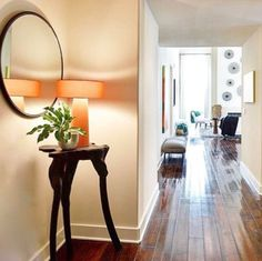 Channel the good vibes brought to this entryway by Spruced Home with Surya's orange Bradley lamp. (BRA-865)