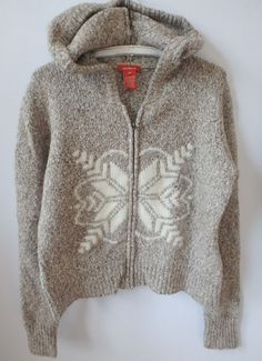 Women's Sundance Zip Up Sweater w Snowflake Size Medium M Natural Hooded Cozy  #Sundance #Hooded