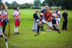 going for the goal at the international Quidditch tournament in Oxford, England