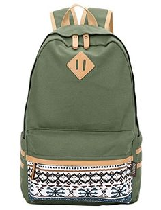 Leaper Causal Style Lightweight Canvas Cute Backpacks School Backpack (Large, Green)