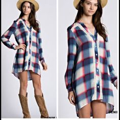 •plaid shirt dress• Shirt dress features plaid pattern and lace edging down the front.  Material is 100% acrylic. Small bust measures 38 inches, length in front 30.5 inches, back 37 inches.  Medium bust measures 40 inches, length in front 33, back 40. Large bust measures 42 inches, length in front 35 inches, back 41. Price firm. Dresses Midi