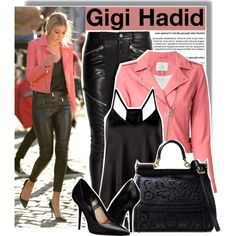 Gigi Hadid in pink leather jacket at the set of a photoshoot