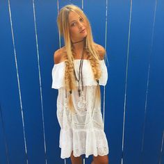 We' e got that Friday Summer feeling. Shop this look in store or online www.azzurracapri.com #VacationMode #4thofJuly #SeeitLoveitBuyit #BohoChic #ootd #offtheshoulder #whitedress #eyelet #braids #blogger #inspiration #luxe