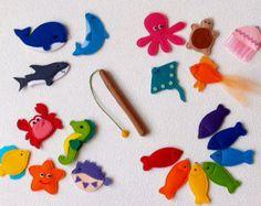 Juego de pesca magnético, animales de fieltro mar juguete, criaturas del mar con caña de pescar - juego educativo de preescolar para el niño, regalo para los niños de aprendizaje